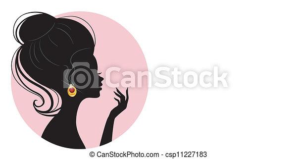 schöne frau, silhouette - csp11227183