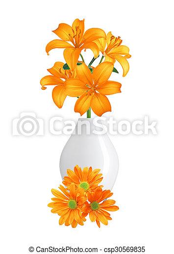 Schöne , freigestellt, blumenvase, orange, weisse blumen ...