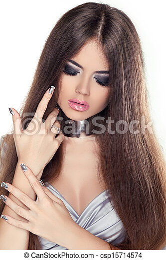 schöne , frisur, brünett, schoenheit, gesunde, langer, girl., hair., modell, woman. - csp15714574