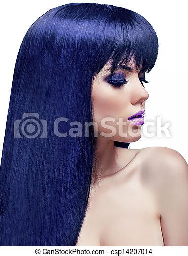 schöne , frisur, färbung, schoenheit, gesunde, langer, girl., brünett, hair., modell, woman. - csp14207014