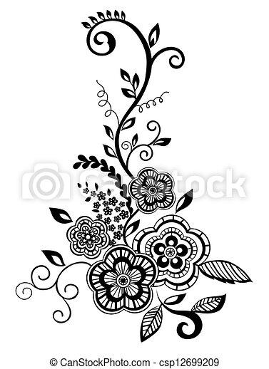 Schöne , guipure, schwarzweiss, element, embroidery., design ...