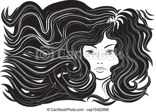 Schöne Frau mit fließenden Haaren - csp15422999