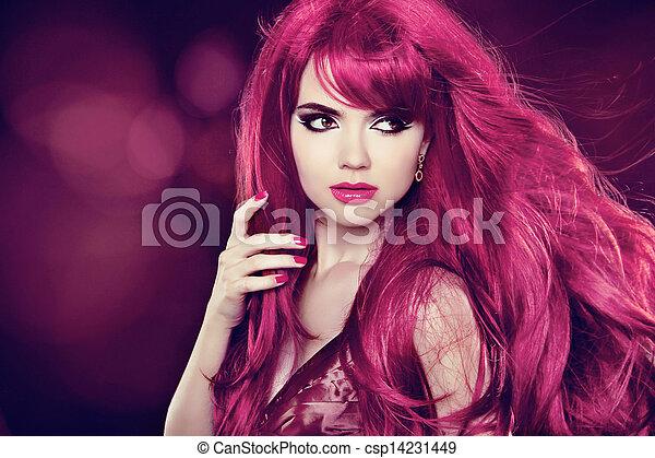 schöne , hairstyle., schoenheit, gesunde, langer, girl., hintergrund, hair., modell, feiertag, woman. - csp14231449