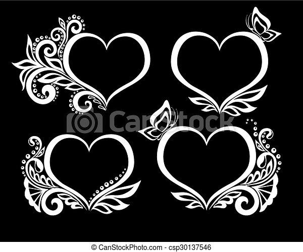 Schöne , herz, satz, schwarzweiss, design, blumen-, symbol,... EPS ...