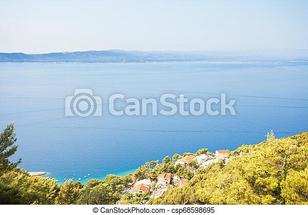 schöne , -, kroatien, kuesten, brela, dorf, dalmatien, fischerei - csp68598695