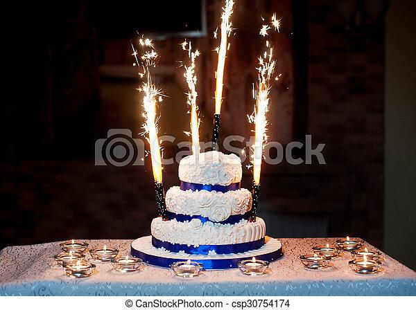 Schöne , Kuchen, Feuerwerk, Three Layered, Wedding   Csp30754174