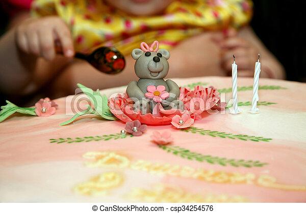 Schöne , Kuchen, Geburstag, Baby