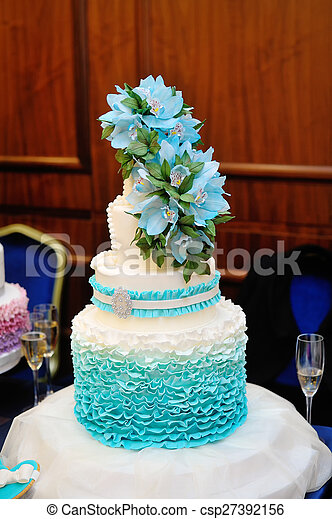 Gut Schöne , Kuchen, Türkis, Three Tiered, Wedding   Csp27392156