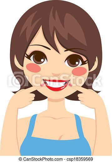 schöne , lächeln, weißes - csp18359569