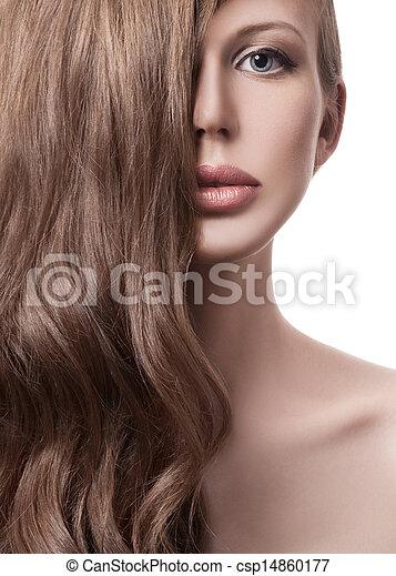 schöne , lockig, langes haar, blond, woman. - csp14860177