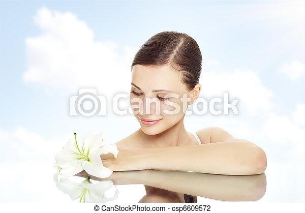schöne , m�dchen, blume, lilie - csp6609572