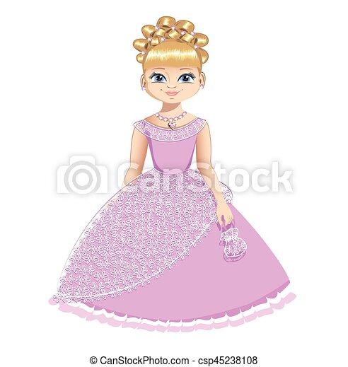 Schone Prinzessin In Einem Rosa Kleid Canstock
