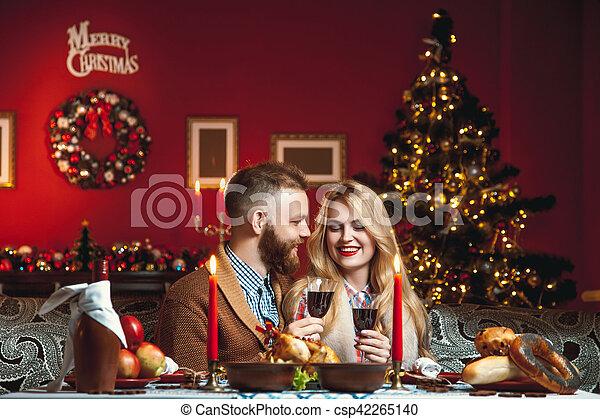 sch ne romantische festlicher kerzen paar baum erntedank weihnachten dekoriert. Black Bedroom Furniture Sets. Home Design Ideas