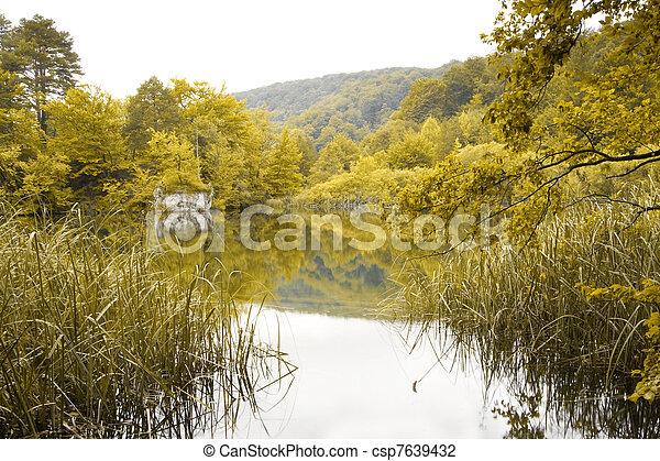 schöne , see, landschaftsbild - csp7639432