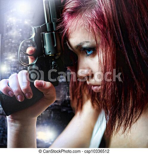 schöne , sexy, m�dchen, gewehr, besitz - csp10336512