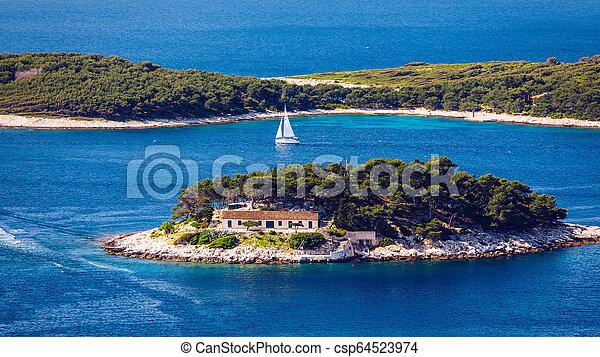 schöne , stadt, alles, galesnik, pakleni, dieser, insel, dahin, wenig, meisten, hvar., ansicht, zuerst, islands., reihe - csp64523974