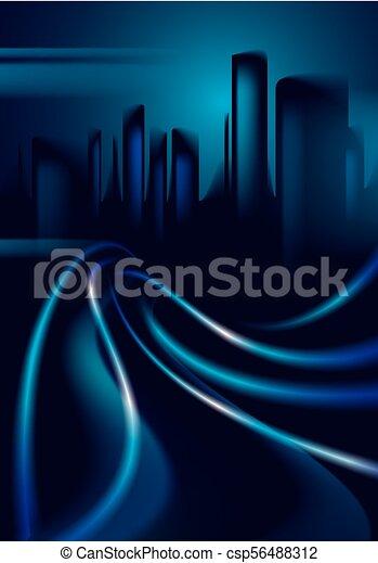 schöne , stadt, gebäude, vektor, bunte, spuren, effekt, licht, dunkel, hintergrund., silhouetten, straße, groß, cityscape, hintergrund, verwischen, skyline., night. - csp56488312
