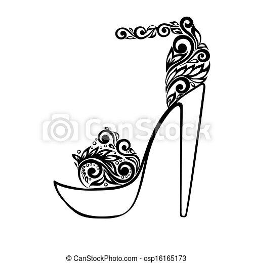 schöne , verzierung, sandals, schwarz, blumen-, dekoriert, weißes - csp16165173