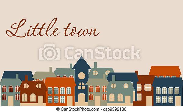 schöne , wenig, town., abbildung, vektor, karte - csp9392130