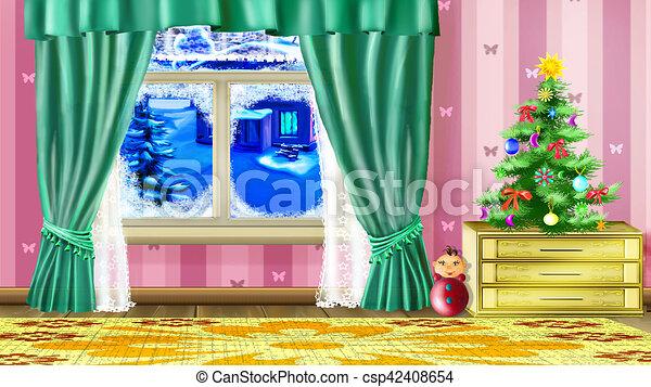 Schone Wohnzimmer Baum Klein Weihnachten Stock Illustration