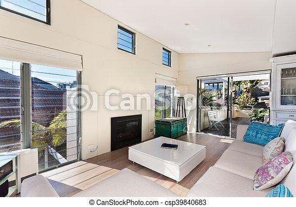 Schöne , wohnzimmer. Schöne , lebensunterhalt, bohnenkaffee, zimmer ...