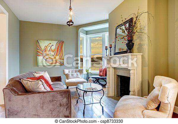 schöne , wohnzimmer, elegant, grün weiß, fireplace.