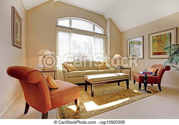 schöne , wohnzimmer, furniture., klassisch, elegant