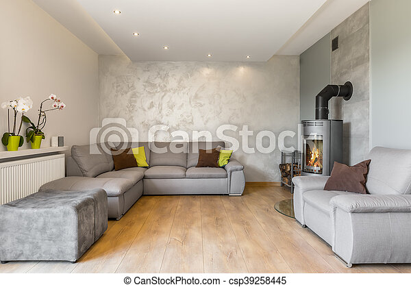 Schöne , wohnzimmer, grau, idee. Dekorativ, lebensunterhalt ...