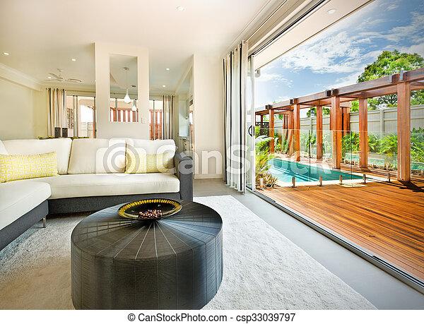 Schöne , wohnzimmer, haus, draußen, ansicht. Schöne , wohnzimmer ...