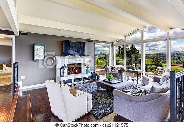 Schöne , wohnzimmer, haus, luxus, interior., ansicht. Wohnzimmer ...