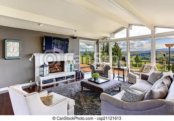 Schöne , Wohnzimmer, Haus, Luxus, Interior., Ansicht   Csp21121613