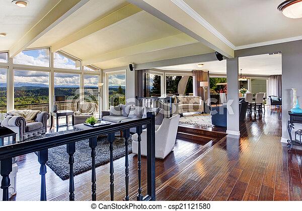 schöne , wohnzimmer, haus, luxus, interior., ansicht