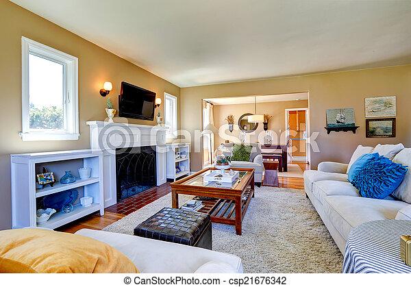 Schöne , Wohnzimmer, Inneneinrichtung, Kaminofen, Cozy   Csp21676342