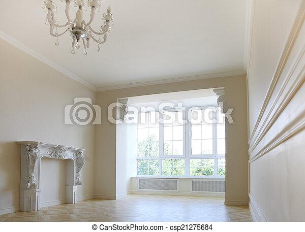 Schöne , wohnzimmer, licht, fenster, töne, groß, kaminofen.