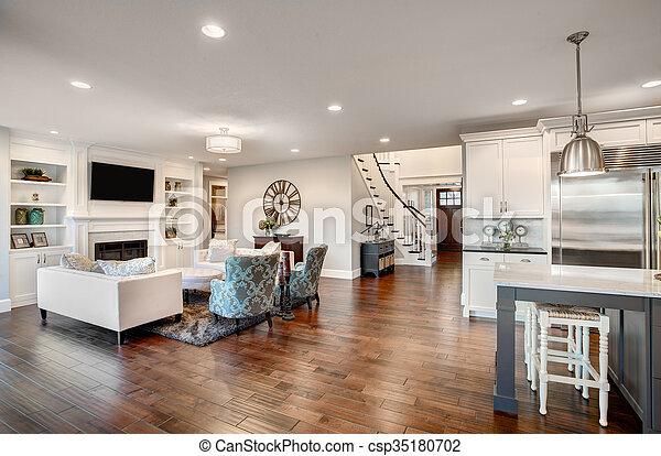 Schöne , wohnzimmer, möbliert, luxus, neues heim.