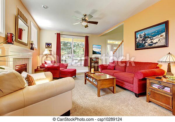 Schöne , Wohnzimmer, Pfirsich, Inneneinrichtung, Fireplace., Rotes