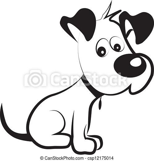Dog schüchterner Silhouette Vektor - csp12175014