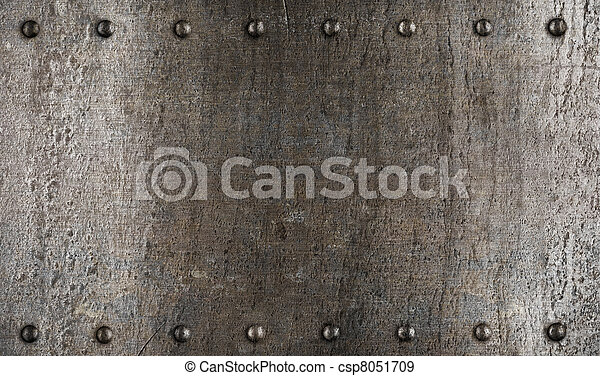 schaaltje, harnas, metaal, textuur, of, klinknagelen - csp8051709