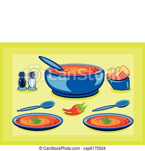 schaaltje, pot, het koken, soep, groot - csp6170524