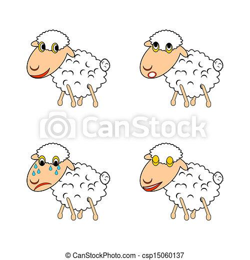 schaap, gekke , anders, uitdrukken, emoties - csp15060137