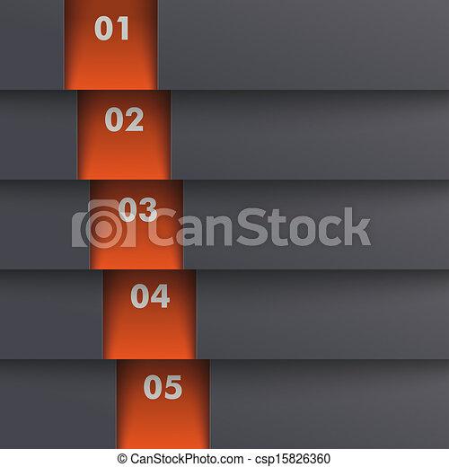 schablone, optionen, 5, tiefe, schwarz, orange, piad, design - csp15826360