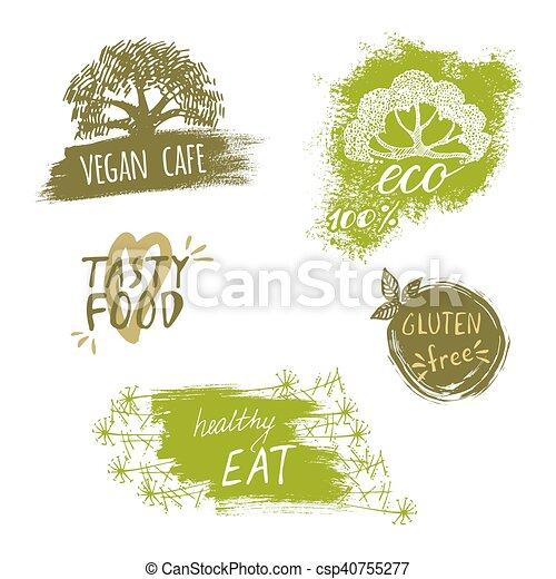 Schablonen, satz, eco, verpackung, logo, stil, weinlese,... Vektoren ...