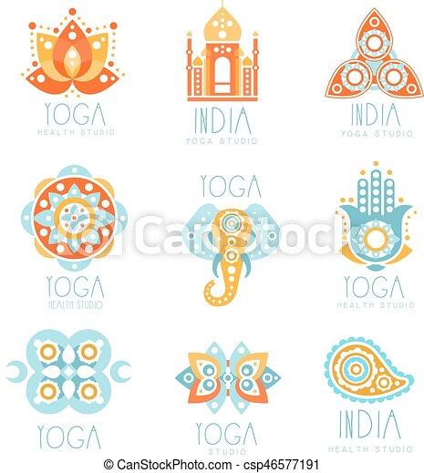 Schablonen, symbole, geistig, satz, joga, bunte, promo,... EPS ...