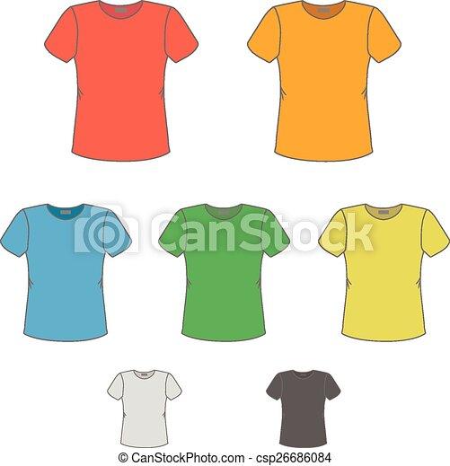 Schablonen, t-shirt, farben, vektor, design, verschieden Vektor ...