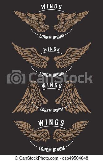 Eine Reihe von klassischen Emblemvorlagen mit Flügeln. Designelemente für - csp49504048