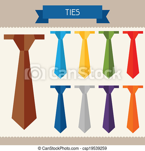 Ties colored templates for your design in flat style. - csp19539259