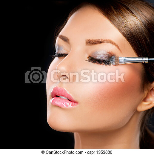 schaduw, applying., oog, borstel, make-up - csp11353880