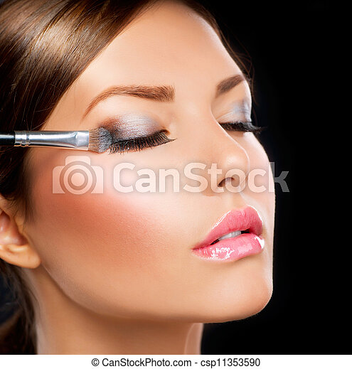 schaduw, applying., oog, borstel, make-up - csp11353590