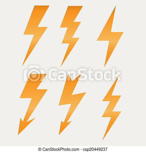 schaduwen, plat, lang, lightning, vector, ontwerp, illustratie, pictogram - csp20449237