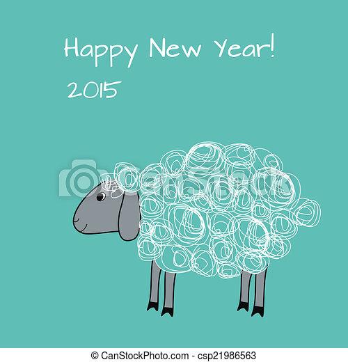 Schafe, grüßen karte. Chinesisches , sheep., gruß, vektor, jahr, neu ...